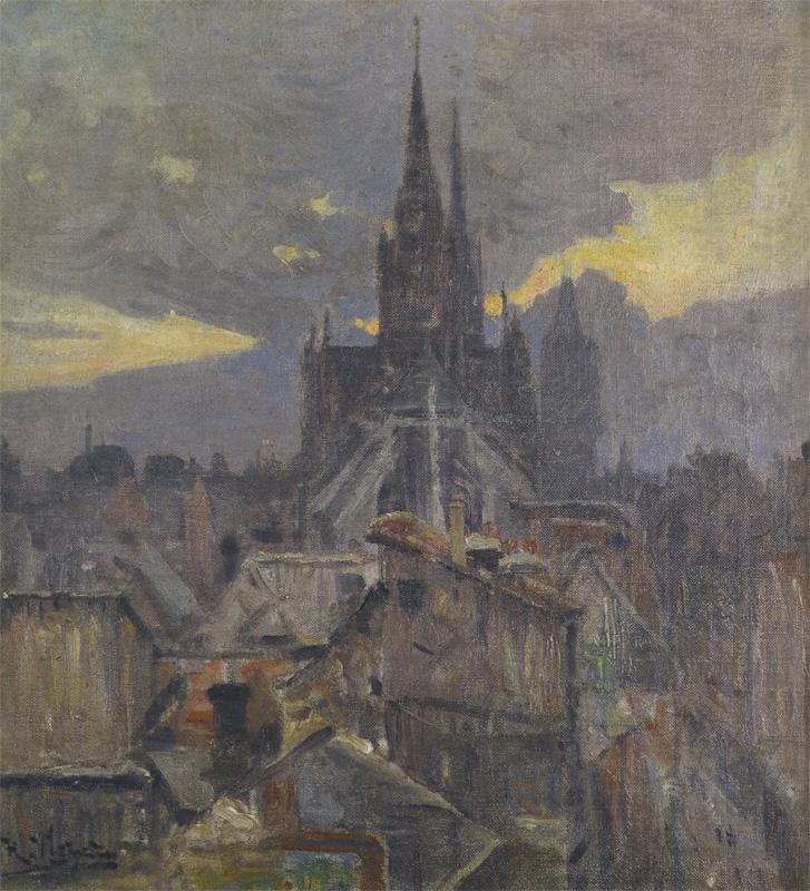 Henri Vignet: Le Chevet de l\'Église Saint-Maclou,