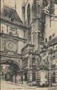 Le Gros-Horloge, la maison du Gouverneur et la fontaine. - Rouen